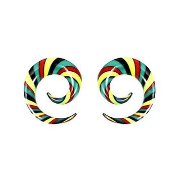 BodyJ4You Glass Spiral Multicolor Rasta Curved Ear Gauge 0G 8mm Piercing Jewelry