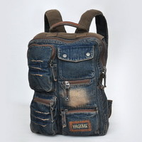 Distressed denim school rucksack backpack womens from Vintage rugged canvas bags