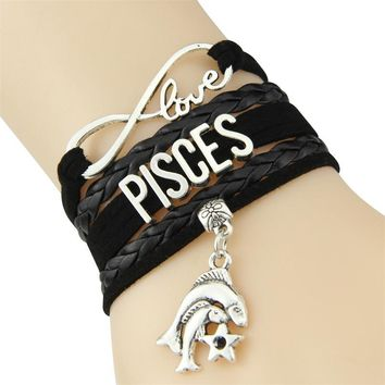 EPIC Infinity Love Leather Zodiac Sign Bracelet