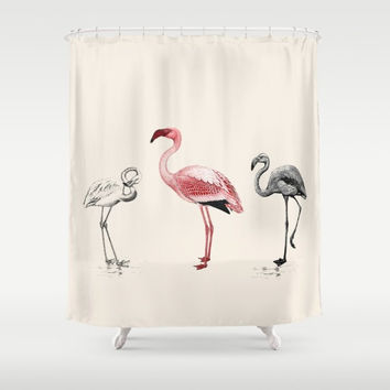 "Pink Flamingo Shower Curtain,  ""The Tres Flam-igos"" retro, vintage design  - cute, tropical, kitsch, coastal, Florida, bathroom decor"