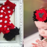 Leg Warmers Mickey Minnie Mouse Baby Headband birthday Outfit set Shabby Headband toddler girl headband  leggings