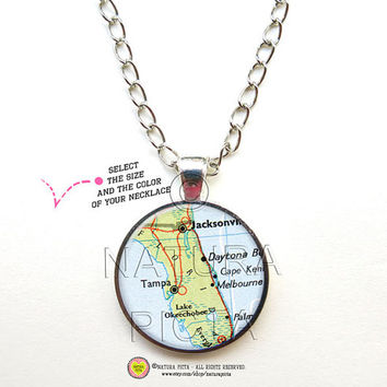 Vintage Tampa Florida map necklace-Tampa pendant-Florida map Jewelry-Tampa Jewelry map necklace-United States necklace-NATURA PICTA NPNK046