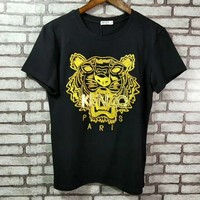 """Kenzo"" Women Casual Personality Fashion Tiger Head Print Short Sleeve T-shirt Top Tee"