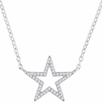 "10kt White Gold Women's Round Diamond Star Outline Pendant Necklace with 18"" Chain 1-8 Cttw - FREE Shipping (US/CAN)"