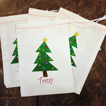 Christmas Tree Favor Bags - Classroom Holiday Party Gift Bag / Teachers Gift / Christmas Treat Holder / Personalized / Cream Muslin 5x7 Bag
