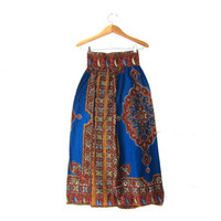 20% OFF SALE Vintage Tribal Skirt. Ethnic Maxi Skirt. High Waist Midi Skirt. Festical Skirt.