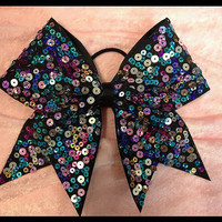 Cheer Bow / Blue-Purple-Teal Sequin Bow