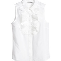 H&M - Silk-blend Blouse - White - Ladies