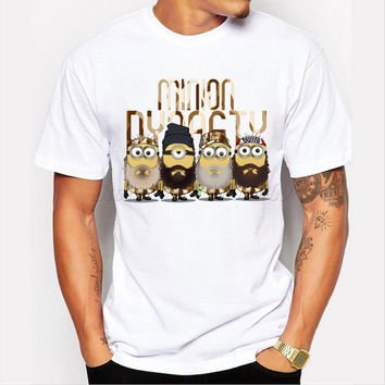 Asian Size fashion Minion Dynasty design men t-shirt short sleeve casual tops Minions Mashup Duck Dinasty printed funny tee
