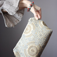 Boho Makeup bag , travel cosmetic bag, toiletry bag,  clutch, circles
