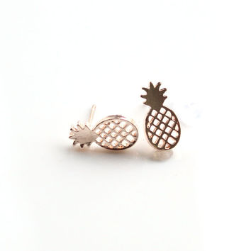 Best Friend Gift Minimalist Decoration Tiny Cute Pineapple Stud Earrings For Women Men BFF Jewelry