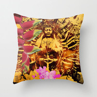 Buddha print pillow 18 x 18 Deb Haugen collage