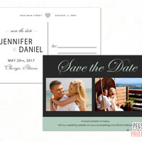 Mint Green Save the Date Postcard Printable - Printable Save the Date - Save the Date Cards Wedding - Photo Save the Date - Mint and Gray