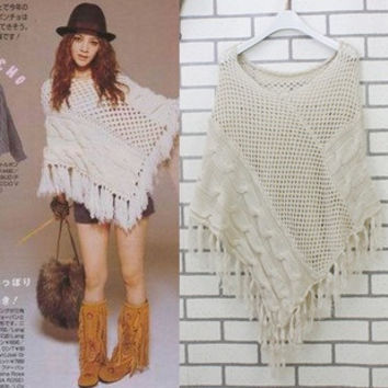 2012vivi popular tassel cutout poncho cape sweater 121  WZ