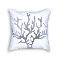 Watercolor Gray Coral Decorative Throw Pillow
