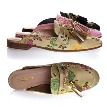 Lulani Gold Gold By Paprika, slip On Loafer Mule w Tassels & Floral Embroidered Stitching On Satin