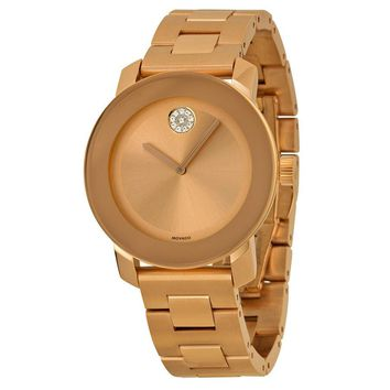 Movado Bold Polished Rose Gold Tone Stainless Steel Ladies Watch 3600086