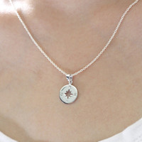 Sterling Silver Compass Necklace- Silver Circle Necklace, Compass necklace, Silver compass, Graduation Gift, Travel jewelry