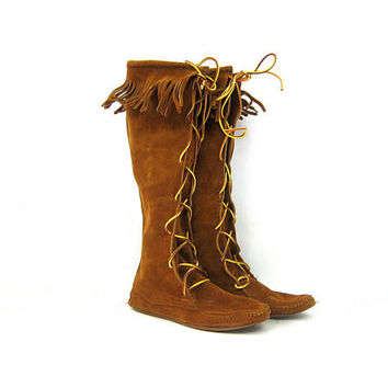 Tall Vintage Moccasins Boots Brown Fringe Suede Leather Boho boots GS Hippie peasant festival wear Womens Lace Up Shoes Size 8