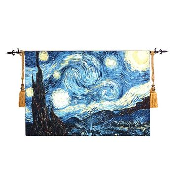 The Starry Night Famous Painting By Van Gogh Wall Tapestry Wall Hanging Decorative Wall Cloth Tapestries tapiz tapisserie