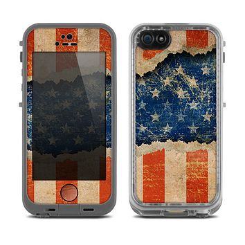 The Scratched Surface Peeled American Flag Skin for the Apple iPhone 5c LifeProof Fre Case