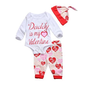 Daddy is my Valentine Baby Girls Clothes Long
