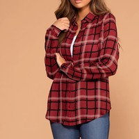 Chloe Burgundy Plaid Top