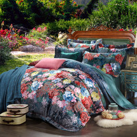 100% cotton bule jacquard floral luxury bedding sets queen king size duvet cover bed sheet