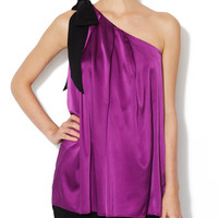 Silk One Shoulder Top by Vera Wang at Gilt