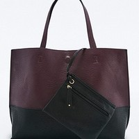 Reversible Vegan Leather Burgundy & Black Colorblock Tote Bag - Urban Outfitters