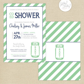 Co-Ed Baby Shower Mason Jar and Stripes Invitation : Mint/Navy/Gray