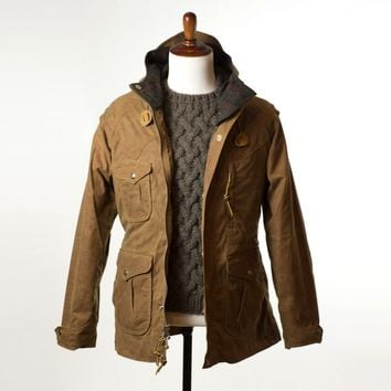 Mountain parka in caramel brown waxed canvas with brown plaid wool blanket lining