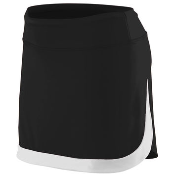 Augusta 2410 Ladies Action Color Block Skort - Black White