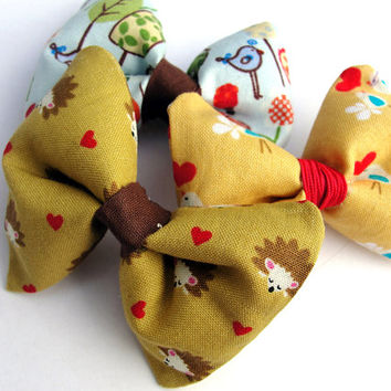 Forest Critters Hairbow Set Bird Hedgehog Animal Hairclips