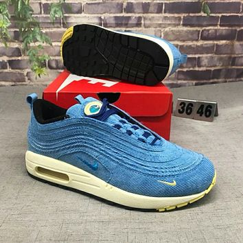 Nike Air Max 97 Stylish Trending Women Men Casual Air Cushion Shock Absorption Sport Running Shoe Sneakers Blue I-CSXY
