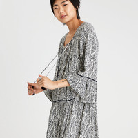 AE BELL SLEEVE LACE UP FRONT SHIFT DRESS, Navy