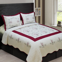 3-PIECE High Quality Fully Quilted Embroidery Quilts Bedspread Bed Cover Set  (Beige/Burgundy