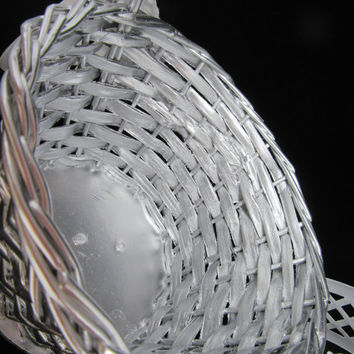 Vintage Silver Woven Flower Girl Basket-White Lattice Ribbon Bows-Crystal Bling Flower Accents-Wedding-Gift-Storage-Home Decor-Cottage Chic