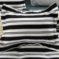 6pc Black and White Striped Bedding Set-Includes Comforter and Duvet Cover