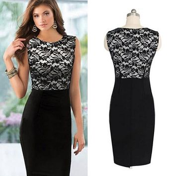 Sexy Women Slim Lace Sleeveless Bodycon Party Pencil Dress Black