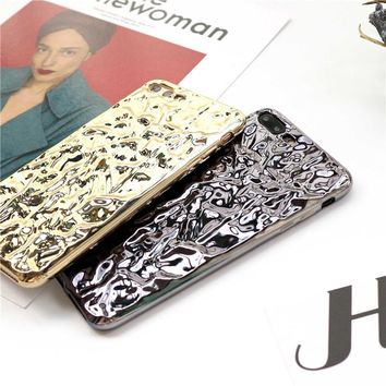 Fashion 3D Bling Crystalline Mirror Color Metal Hard Cover For iPhone 7 6 6s Plus Case Luxury Shinny Plating Tinfoil Phone Cases