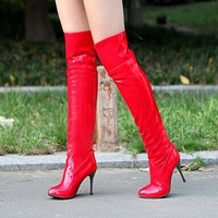 Red Women's Casual All-Match Back Strap Knee-Length Boots High-Heeled Boots Rain Shoes Alternative Measures