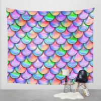 colorful mermaid tail Wall Tapestry by Haroulita