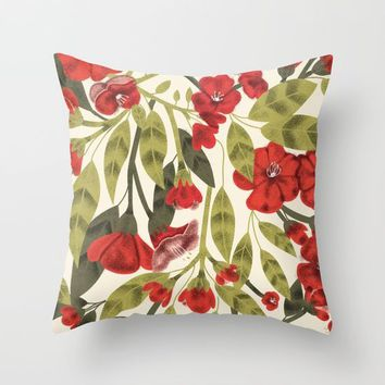 Red Garden Throw Pillow by chotnelle