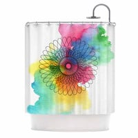 "Sonal Nathwani ""Rainbow Spiro"" Multicolor  Shower Curtain"