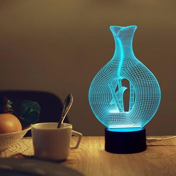 3D LED Night Light Bird In Cage Model 7 Colors 5V USB Led Lava Lamp Touch-sensitive Illusion Nightlights Table Lamps For Bedroom