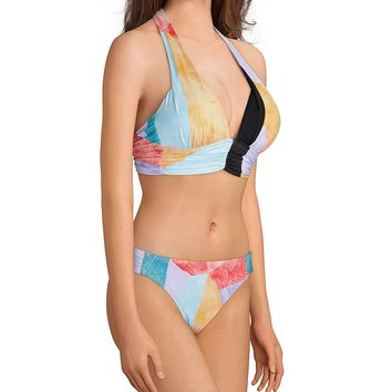 Gibson & Latimer Waterblocks Banded Halter & Tab Side Swimsuit Bottom | Dillard's