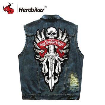 Trendy HEROBIKER Motorcycle Rider Vest Motorcycke Jacket Motorcycle Clothing Men Classic Vintage Club Denim Sleeveless Biker Waistcoat AT_94_13