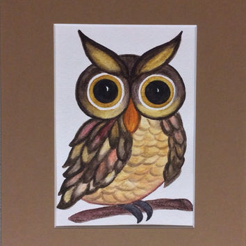 Owl Watercolor Painting 5 x 7