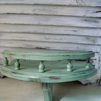 Cottage Chic Mint Green Painted Vintage Wooden Wall Shelf , Distressed Green Wood Spindle Wall Shelf, French Cottage Wall Sconce